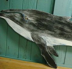 Whale Humpback Sign Wall Art Beach House Decor by CastawaysHall, $99.00/ $29 US ship. This humpback whale is finished on both side so that you can hang facing either direction. He is painted in white, navy and dark gray black and then distressed to bring out the color layers.   44 to 46 inches long, 17 to 19 inches high.  This whale is made to order. Please allow 10 business days to produce before shipping.