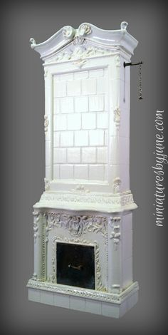 Swedish fireplace (Kakelugn) 1/12 scale miniature dollhouse furniture
