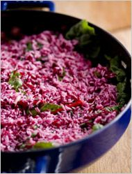 Sweet, Sour, Tasty - An Old Iraqi Dish for Jewish New Year - Jasmine Rice with Beets and Chard