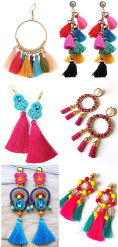 Round up of the best Tassels, Pom Pom and Soutache Tassel Earrings. Super fun and bright for your Summer holidays nights out. What to wear to Summer Festivals. Festivals Fashion. Holiday Fashion. Find these and our other top picks of tassels accessories on the blog. #blogger #fashion #tassels #soutache #soutacheearrings #summerfashion #summerholidays #fashionista #fashionblogger #blogger #tropicalfashion #statementearrings #hotpink #tropicalcolours #beachholidays