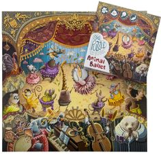 Animal Ballet - every ballerina is a different animal. Whimsical make believe at its most fun.  BIG puzzle 60cm x 55cm  30 pieces Artist Iryna Bodnaruk Handcrafted box, recycled board