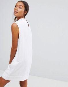Waven Ditte Denim High Neck Shift Dress - White