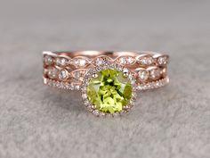 7mm Round Peridot Wedding Set Diamond Bridal Ring 14k Rose Gold Marquise Eternity Band