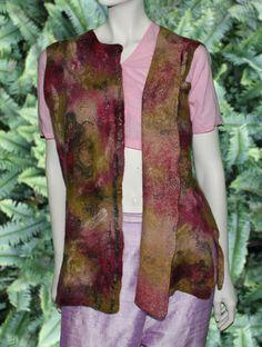 Nuno felt reversible sari silk vest