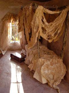 Paper mache dollhouse bedroom