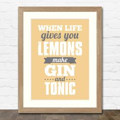 Make Gin and Tonic Print - Typographic Art Print - Available in 3 colours