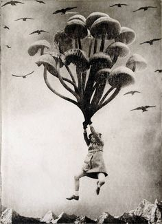 L'artiste néerlandais c combine la gravure avec d'autres techniques de reproduction des images pour créer ces oeuvres qui montrent des enfants dans un monde fantastique.