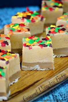 Caramel Pumpkin Fudge - Lady Behind The Curtain Fudge Recipes, Candy Recipes, Holiday Recipes, Dessert Recipes, Desserts, Oh Fudge, Caramel Fudge, Pumpkin Fudge, Homemade Candies