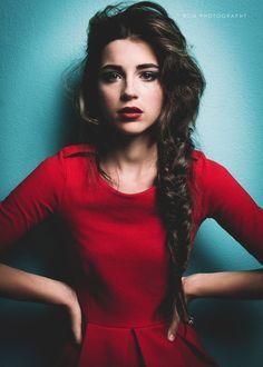 red dress + braid.