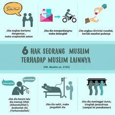 Hak Seorang Muslim terhadap Muslim lain Muslim Quotes, Islamic Quotes, Islam For Kids, Doa Islam, Learn Islam, Islamic Teachings, Islamic Messages, Islam Muslim, Self Reminder