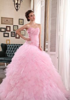 105b9b156cfe3 A bride wearing a pink tulle wedding dress will emerge a romantic sense for  anyone . nisanlik modelleri