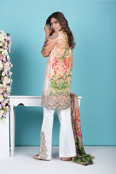 Shirt: Fabric: Embroidered Front, Printed Back with Sleeves Shalwar/Trousers: Fabric: Embroidered Trouser. Dupatta: Fabric: Printed Silk Dupatta