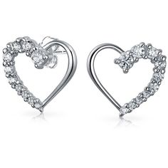 Bling Jewelry Bling Jewelry Love Journey Heart Stud Earrings 925... ($21) ❤ liked on Polyvore featuring jewelry, earrings, silver, sterling silver open heart earrings, sterling silver heart jewelry, stud earrings, heart stud earrings and sterling silver stud earrings