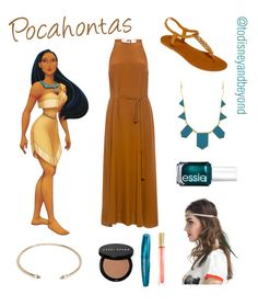 """Pocahontas from ""Pocahontas"" (1995)"" by todisneyandbeyond ❤ liked on Polyvore featuring Karen Walker, Mixit, House of Harlow 1960, WithChic, Essie, Bobbi Brown Cosmetics, Max Factor and ASOS"