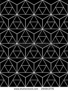 Vector seamless pattern with triangles,Dark textile print with sacred geometry, Monochrome geometry texture , Symmetrical repeating background