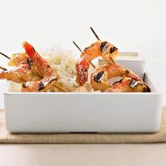 A coconut milk marinade flavors the shrimp in these grilled kabobs. Make them at your next summer cookout./