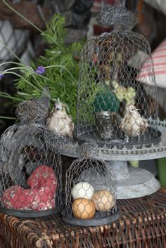 I'm pretty sure I can make these . . . Chickenwire cloche set (French grey finish)