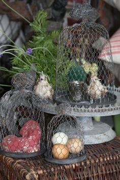 I'm pretty sure I can make these . . . Chickenwire cloche set (French grey finish)