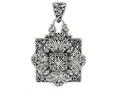 Artisan Gem Collection Of Bali(Tm) Square Sterling Silver Floral Penda