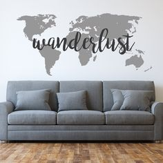 Wanderlust - World Map - Wanderlust decal - World Map Decal - Travel - Wall Decals - Home Decor - Wanderlust world map wall decal by luxeloft on Etsy