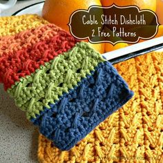 These cable stitch dishcloths work up quickly and are textured, yet dainty. The cable stitch is easy to master and one of my favourite stitches so far. The post Cable Stitch Dishcloth { 2 Free Patterns} appeared first on Look At What I Made. Crochet Cable Stitch, Crochet Motifs, Crochet Potholders, Love Crochet, Knit Or Crochet, Crochet Crafts, Crochet Stitches, Crochet Hooks, Crochet Projects