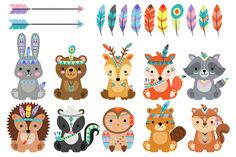Tribal Woodland Animals Clipart (Graphic) by ClipArtisan · Creative Fabrica Clipart, Guinea Pig Toys, Cat Toys, Tribal Animals, Back Art, Chipmunks, Woodland Animals, Art Images, Graphic Illustration