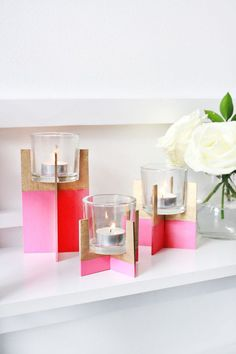 DIY Balsa Wood Candle Holder dipped in pink! So fab. #entertaining #DIY