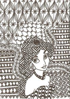 Zentangled Princesses: Jasmine by crystal-of-ix.deviantart.com on @deviantART