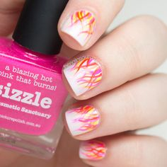 Flame inspired nail art - with a pink twist of course!