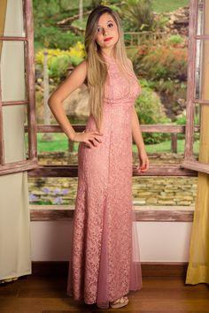 Vestido longo frente única rosa seco, com renda, paetês e brilho. Ideal  para madrinhas de casamento e festas de formatura. 4adba310fb