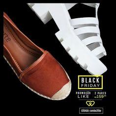 Corre que já está acabando! Qualquer 2 pares de sandália, espadrille ou flatform por R$159. Você não vai perder essa, né? Use o código combo2like.