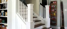 Entry and Staircase Makeover Reveal from Cassity @ Remodelaholic! This is one of the most amazing makeovers of a Builders Grade home I've seen! Up House, House Stairs, Park House, Removing Carpet From Stairs, Banister Remodel, Stair Banister, Wood Stairs, Stair Risers, Dreams