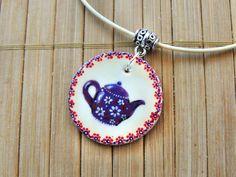Handpainted teapot pendant, teapot necklace, necklace for tea loves, morning tea accessory, cule little tea kettle #teapot #teatime #teaparty #teakettle #handpaintedteapot #tealovers