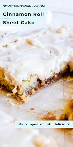 Cinnamon Roll Sheet Cake is the ultimate in all things cake. It's like a warm, perfect piece of comfort smothered in cream cheese frosting. Crazy Cakes, Pavlova, Köstliche Desserts, Dessert Recipes, Brunch Recipes, Cinnamon Desserts, Frosting Recipes, Plated Desserts, Think Food