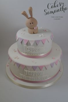 Bunny and Bunting Christening Cake - Birthday Cake Flower Ideen Bunny Birthday Cake, Girls First Birthday Cake, 1st Birthday Cakes, Happy Birthday, Baby Girl Christening Cake, Baby Girl Cakes, Torta Baby Shower, Cupcakes, Cupcake Cakes