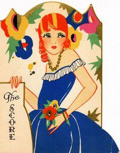 Art Deco - Flapper with red curls. Art Deco Illustration, Vintage Illustrations, Mode Vintage, Vintage Art, Vintage Images, Vintage Posters, Art Nouveau, Red Curls, Inspiration Art