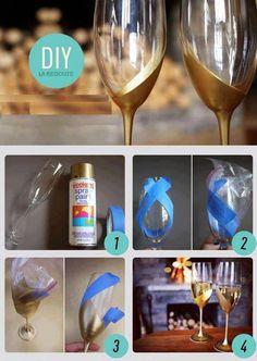 DIY ... gold rimmed champagne glasses