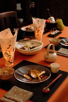 Japanese tablescape in autumn