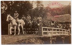 RPPC Japanese Military Officers for Emperor Hirohito on Horseback~107530