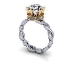 SUPERNOVA Colorless Moissanite Unique Engagement Ring 2.20 CTW