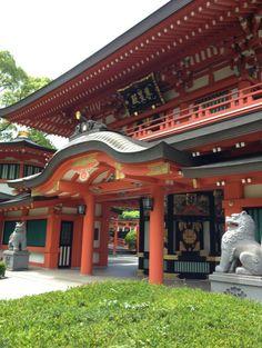 """Sonseiden (Japanese, 尊星殿)"" of ""Chiba jinjya (Japanese, 千葉神社)"", a Shinto Shrine in Chiba city Chiba prefecture, Japan."