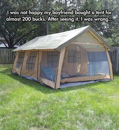 I want one, and that's hella cheap for a tent house