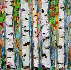 Original oil painting FALL BIRCH TREES palette knife modern impressionism fine art impasto by Karen Tarlton.