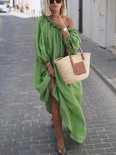 Green Long Balloon Sleeves Loose Maxi Dress Green / S Mode Outfits, Dress Outfits, Fashion Outfits, Womens Fashion, Maxi Dresses, Fashion Ideas, Girly Outfits, Cheap Fashion, Fashion Boots