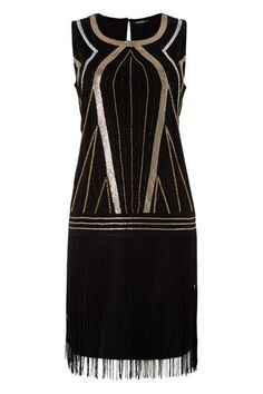 Womens Beaded Flapper 20's Dress Evening Party Cocktail Occasion Ladies Black   eBay