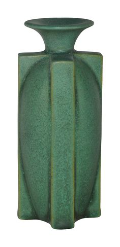 Teco Pottery Four Buttress Charcoaled Matte Green Vase 441