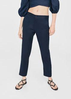 Прямые брюки с хлопком и льном