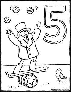 5 ans et artiste de cirque - coloriage dessin image à colorier Birthday Coloring Pages, Saint Nicholas, Colouring Pages, Puzzle, Halloween, Drawings, Hip Hip, Celebrations, Coloring Pages