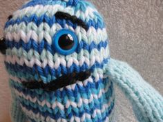 Beauford the Blue Monster  Hand Knit  Toy by NolasKnits on Etsy, $12.00