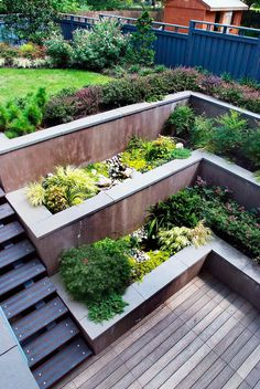 Tiered Concrete Built-In Deck Planters